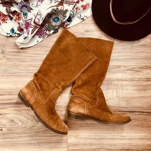Soft leather mid calf boho boots